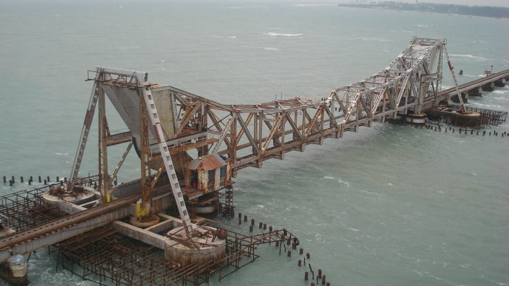 Pamban Bridge, Palk Strait